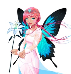 Portrait of a young fairy with a wedding dress and vector image