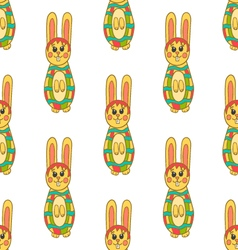 Seamless pattern with easter bunny-8 vector