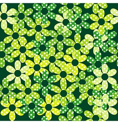 Seamless pattern with green dotted flowers vector