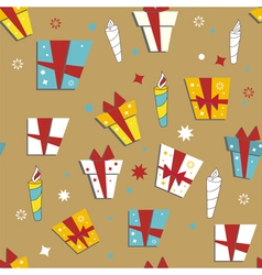 seamless wallpaper with gifts vector image vector image