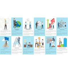 Set business banners depicting diligent employees vector
