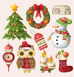 Set of christmas items and characters vector image vector image
