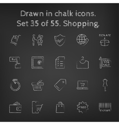 Shopping icon set drawn in chalk vector