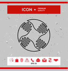 teamwork hands logo human connection line icon vector image