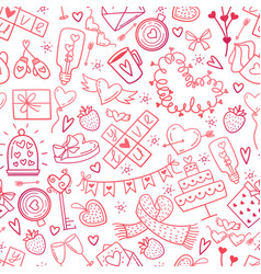 Valentine day doodles elements pattern cute vector