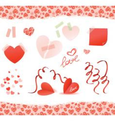 valentine elements red vector image vector image