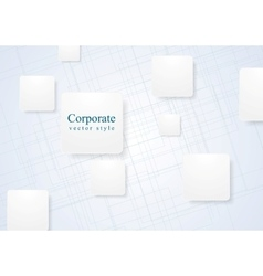 White geometric squares on lined background vector image vector image