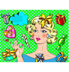 woman with christmas gift pop art retro styl vector image