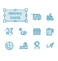 Thin line icons set delivery vector