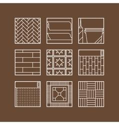 Flooring Flat icons of laminate parquet carpets vector image