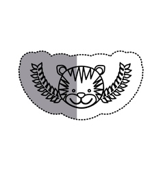monochrome contour sticker with tiger head and vector image