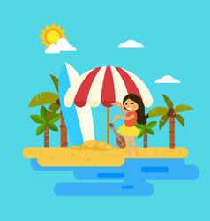 hello summerwoman dancing on the beach vector image