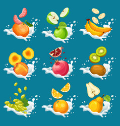Natural fruits in milk splashes collection vector