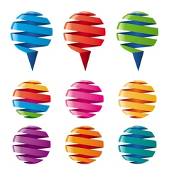 multicolored balloons twisted ribbons vector image