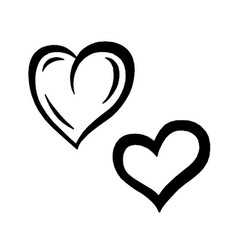 Hand drawn hearts design elements for valentine s vector