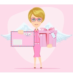 The girl-angel congratulates gives invitation vector