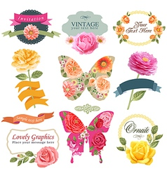 Vintage labels with flowers and butterflies vector