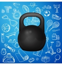 Kettlebell and hand draw sport icon vector