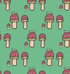 Mushrooms after the rain seamless pattern vector