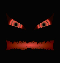 Black halloween evil face with a toothy maw vector