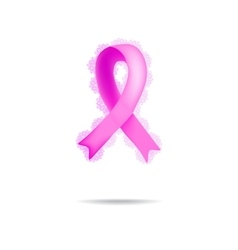 Ribbon breast cancer lace on vector