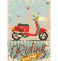 Retro poster design with vintage scooter vector