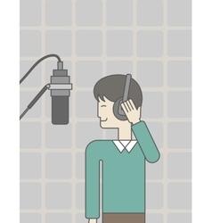 Singer in studio vector