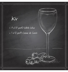 Kir alcohol cocktail on black board vector