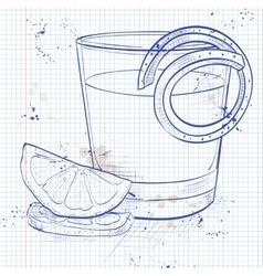 Classic sazerac cocktail on a notebook page vector
