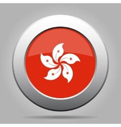Metal button with flag of hong kong vector