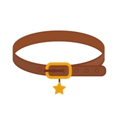 Brown leather animal dog collar with golden star vector