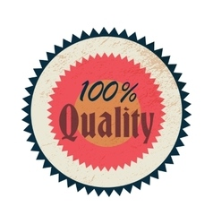 100 percent quality label vintage style vector