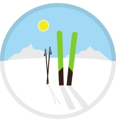 Cartoon circle winter symbol icon with skis vector
