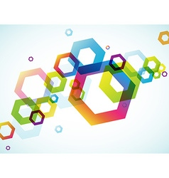 Abstract colored background with hexagon objects vector image vector image