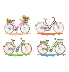 Bicycles set retro bikes vector