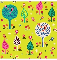 Birds in the trees nature forest pattern vector