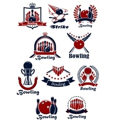 Bowling sporting club emblems with items vector image vector image