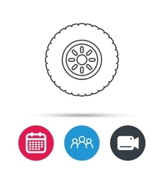 Car wheel icon tire service sign vector