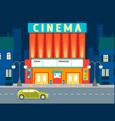 cartoon building cinema on a city landscape vector image