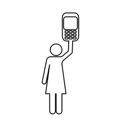 Cellphone and woman pictogram icon image vector
