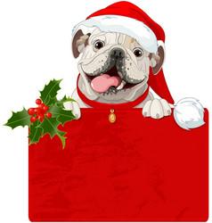 Christmas english bulldog vector