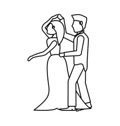 couple wedding dancing outline vector image
