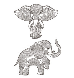 elephant with mandalas vector image
