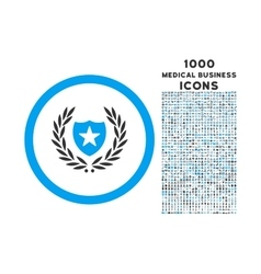 Glory shield rounded icon with 1000 bonus icons vector