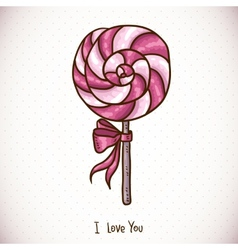 Greeting Card with candy lollipop vector image