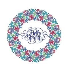 Hello spring lettering round frame of butterflies vector