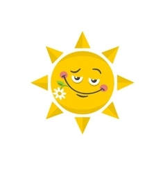 Icon of cute sun with flower vector image