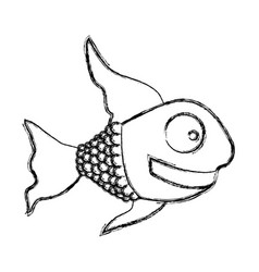 monochrome sketch of fish with long fins vector image vector image