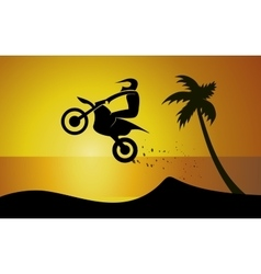Motorcycle on seaside vector