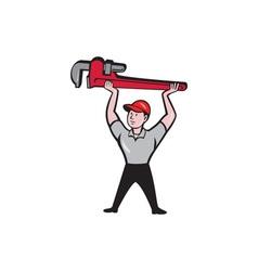 Plumber lifting monkey wrench cartoon vector